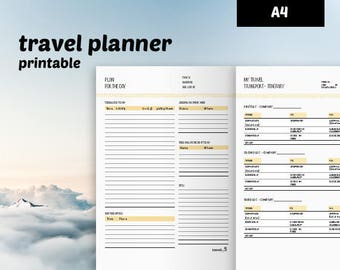 Instant Download Travel Planner printable - A4 planner printable - 23 templates traveler's notebook - undated travel planner