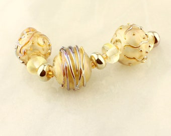 Lampwork Glass Beads Set, Iridescent Gold Hollow Lampwork Beads