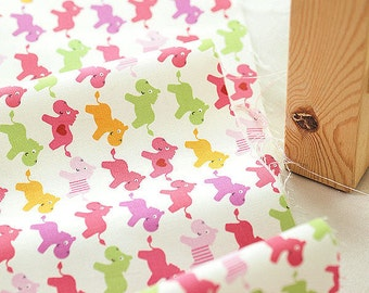 Cute Horses and Hearts Oxford Cotton - Pink - By the Yard 38869