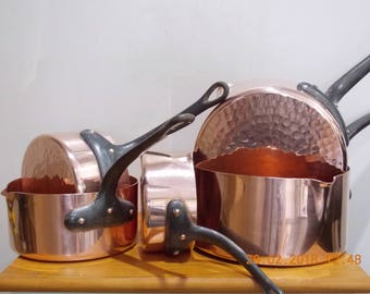 Professional Quality French Copper Villedieu Patisserie pan set , Hammered base and spouts ,  vintage French copper pots and pans. Sugar pan
