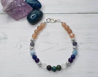 Energy Bracelet ~ Self Care ~ August Birthstone ~ Amethyst Bracelet ~ Inspiration Bracelet ~ Angelite ~ Sodalite Bracelet Weight Goals
