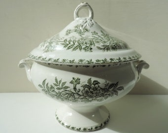 French Antique Tureen /French Antique Transferware Tureen/Antique Tureen/Soupiere/French Ironstone /French Transferware/St Amand Ironstone