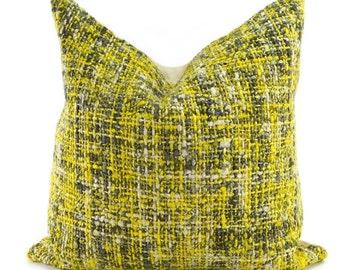 Yellow, Gray & Off White Woven Throw Pillow Cover, 20x20