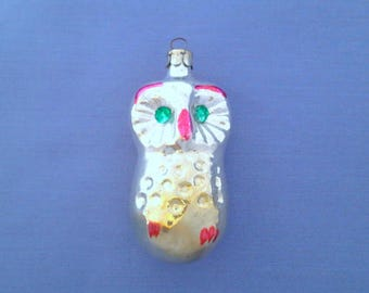 Owl - vintage soviet glass Christmas tree decoration, christmas ornament, bird, Xmas, made in USSR, 1950s