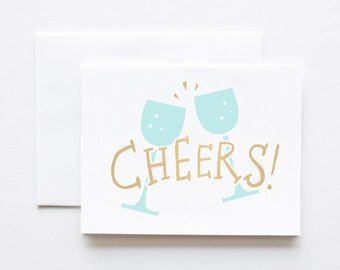 Wedding Card- Cheers with Metallic Gold