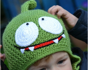 """Handmade Crochet Om Nom from """"Cut the Rope"""" hat, Kid hat, Boys hat, Girls hat, Character Hat"""