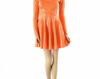 Neon Orange Sparkly Jewel Holographic Long Sleeve Fit and Flare Skater Skate Dress 151814