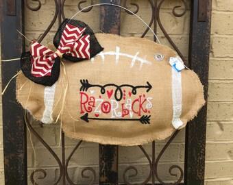 Arkansas Razorback Football Door Hanger, Razorbacks, Door Decor, Burlap, Football, Arkansas, Arkansas Razorbacks, Go Hogs, Ready to Ship,