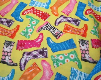 YARD SALE !!! Timeless Treasures Rain Boots  By the Yard Bright Yellow Background Colorful Rain Boots  Plaids Stripes Floral Super Cute