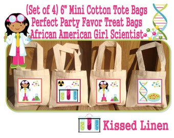 African American Science Party Scientist Birthday Party Treat Favor Gift Bags Mini Cotton Totes Children Kids Girls Boys