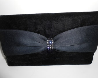 Black Evening Bag, Vintage Handbag, Black Clutch Bag, Black Evening Purse, La Regale,Glamorous Purse, Rhinestone Trim, Elegant  EB-0557