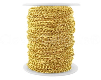 100 Ft - 3x5mm Curb Chain - Gold Color - For Necklaces & Custom Jewelry - 3mm x 5mm Twisted Oval Links
