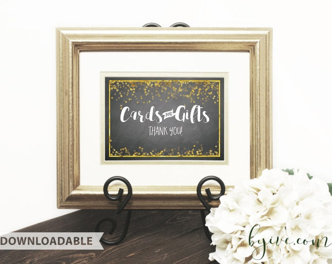 Cards & Gifts wedding Sign, chalkboard black, white and gold, Downloadable, Print it yourself.