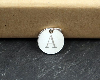 Sterling Silver Engraved Initial Tag 10mm