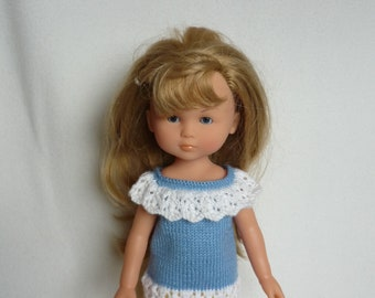 """Hand Knitted Top/T-shirt with Ruffle Collar - Blue & White for 13"""" Doll  (Les Cheries, Little Darling, Similar) - Ready to Ship"""