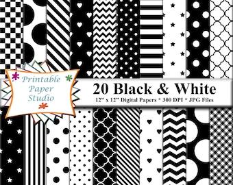 Black & White Digital Paper Pack, Instant Download Black and White Pattern, Digital Scrapbook Paper, Digital Scrapbook Element