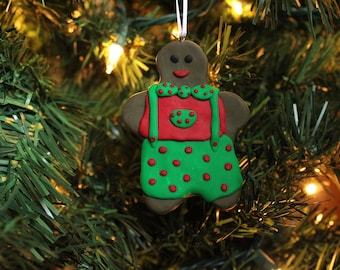 Gingerbread Man Ornament - Polymer Clay Gingerbread Ornament - Christmas Ornament - Christmas Gift - Hand Sculpted Gingerbread Man Ornament