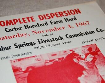Lot of 10 Original 1967 texas livestock ranch auction flyers - paper ephemera destash