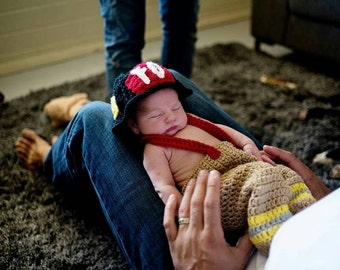 Crochet newborn firefighter photo prop, crochet newborn photo prop,  crochet fireman helmet, crochet fireman overall pants,