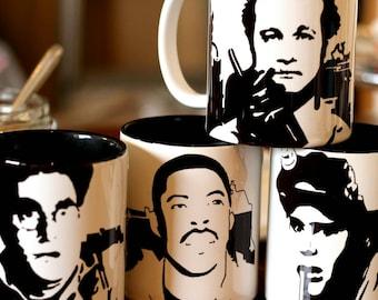 Ghostbusters, Ray Stanz, Peter Venkman, Egon Spengler, Winston Zeddemore, Bill Murray, Dan Akroyd, Harold Ramis, Hand Crafted Cup Set