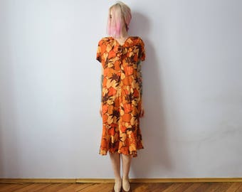 80s Vintage Dress with Matching Belt. Volant Dress. Midi Dress with Frill Trims
