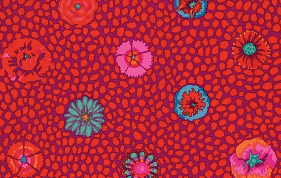 GUINEA FLOWER RED by Kaffe Fassett Collective  Sold in 1/2 yd increments