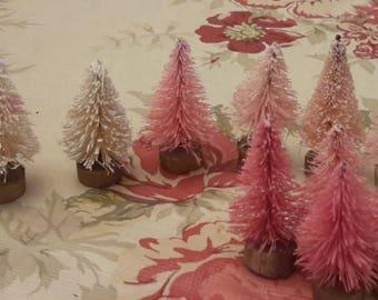 """12 pc set tiny mini bottle brush trees 1 1/2"""" PINKS +WHITE  decoration vintage style teeny"""