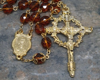 Czech Glass Rosary in Madiera Topaz and Gold Metals, November Birthstone Rosary, 5 Decade Rosary with Bead Caps