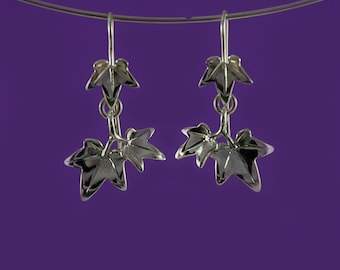 Ivy Leaf drop or dangle earrings inspired by nature, hand-made in 925 sterling silver