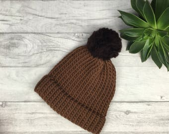 Brown knitted hat, woollen hat, wool beanie hat, hand knitted hat, ski knit wear, merino knitwear, adult knitted hat, merino wool, etsy UK