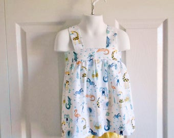 Apron Style Pinafore Top and Bloomers or Shorts SET for baby or toddler girls - 6 mos to 6 yrs - Jungle Animals