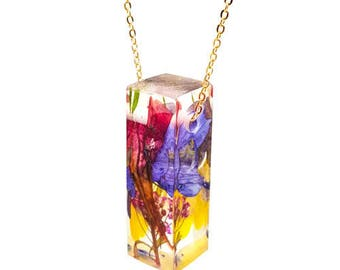 Resin Bar Necklace with Everything.  Resin Jewelry with Real Pressed Flowers - Resin Jewelry.  Handmade Jewelry. Sterling.  Gold.