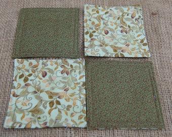 Green & Gold Fabric Coasters, Reversible Coasters, Quilted Coasters, Floral Coasters, Green Coasters, Gold Coasters, Coaster Set