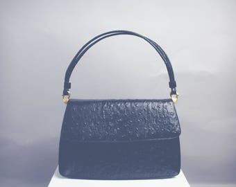 Vintage Black Faux Ostrich Leather Top Handle Shoulder Bag