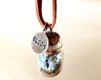 BLOOM- Tiny Bottle Necklace on Leather Cord