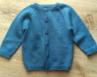 Basic Top Down Baby Cardigan 12-Month Size Knitting Pattern