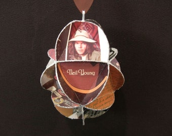 Neil Young Album Cover Ornament Made From Repurposed Record Jackets