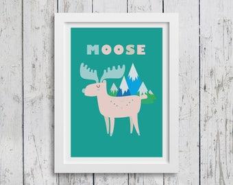 Mountain Moose A3 print