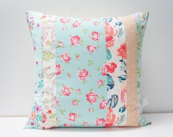 Pillow Cover - Patchwork Pillow Cover, 20x20, light blue, pink, peach, teal, coral floral