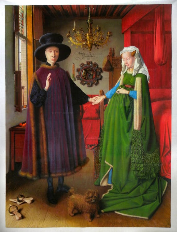 the arnolfini marriage Can you describe the painting the arnolfini marriage using element and principles of art ) texture, line,pattern ,color ,shape,contrast, value , from.