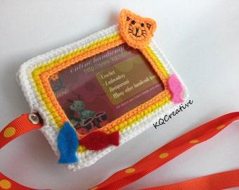 Crochet ID Cardholder- White, Yellow and Orange with kitten catching fish