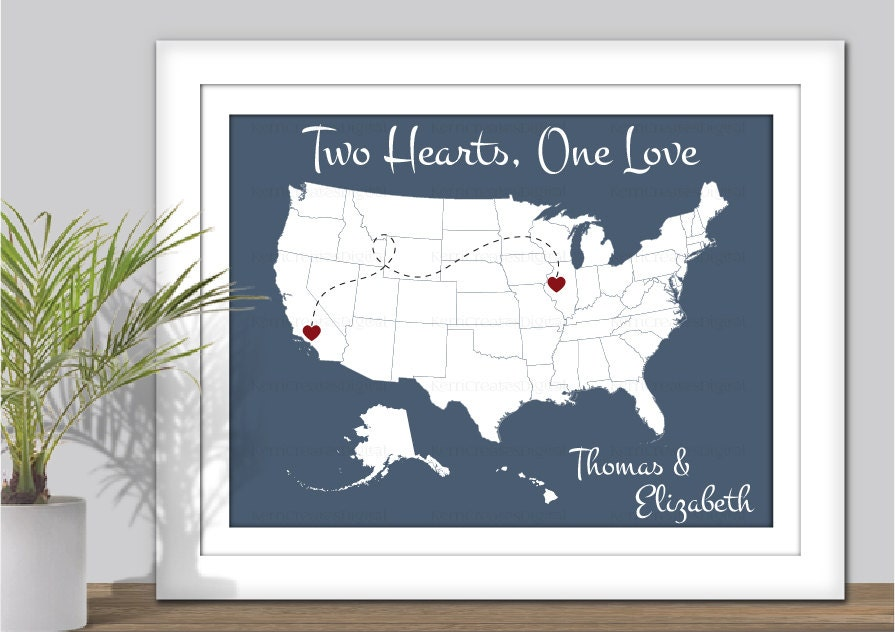 State Map Art Two Hearts One Love USA Map Art PRINTABLE