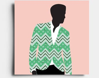 African Print Gent - Greetings Card - Pink