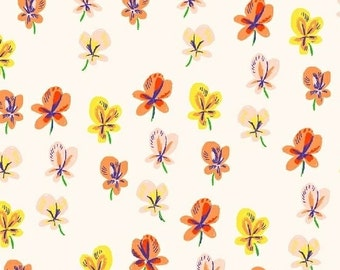 SLEEPING PORCH - Cream Pansies - by Heather Ross for Windham Fabrics - Cotton Lawn - 42206-6