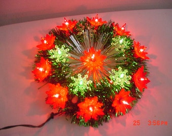 Vintage Everglow 16 Lite Poinsettia Christmas Tree Top In Original Box   17 - 382