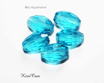 25 x grain of rice - aquamarine Blue Crystal beads