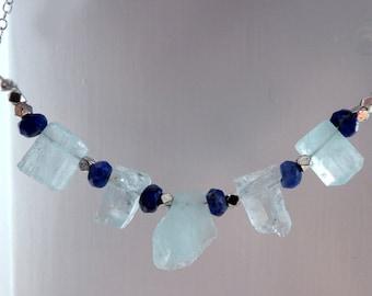 Raw aquamarine crystal necklace- Jewelry gemstone sterling silver necklace- Blue stone rough stones pendant- Boho gemstone women gift