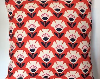 Garden Variety Red Cushion, Floral Cushion, Red Pillow, Barkcloth Cushion, Cushion UK, Cushion Cover, Cushion Cover UK, Floral Pillow