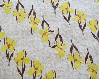 Half Yard of Vintage Sheet Fabric - Yellow and Brown Lily Stripes - 1/2 yd