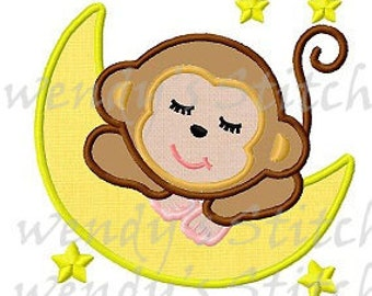 Monkey sleeping moon stars applique machine embroidery design
